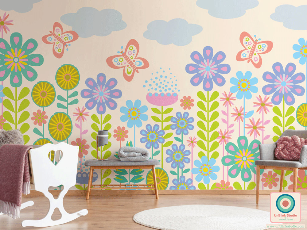 Childrens Floral Butterfly Print and Pattern Design from UnBlink Studio by Jackie Tahara