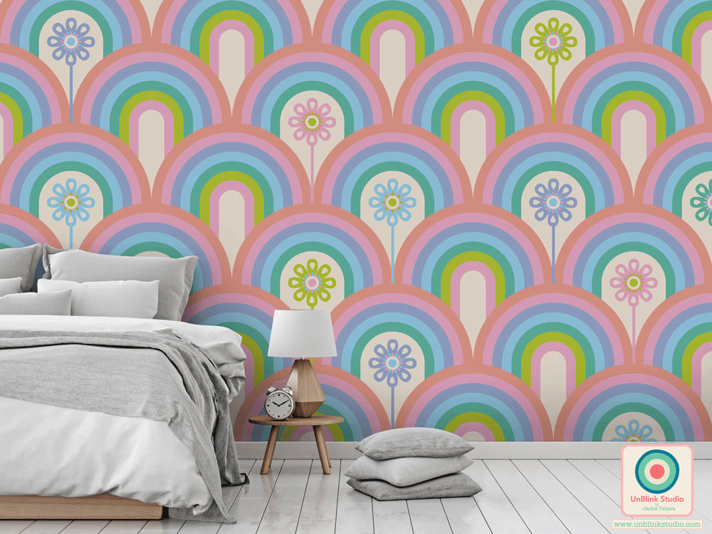 Rainbow Floral Print and Pattern Design from UnBlink Studio by Jackie Tahara